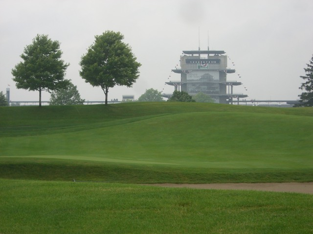 Pagoda, fog, golf course