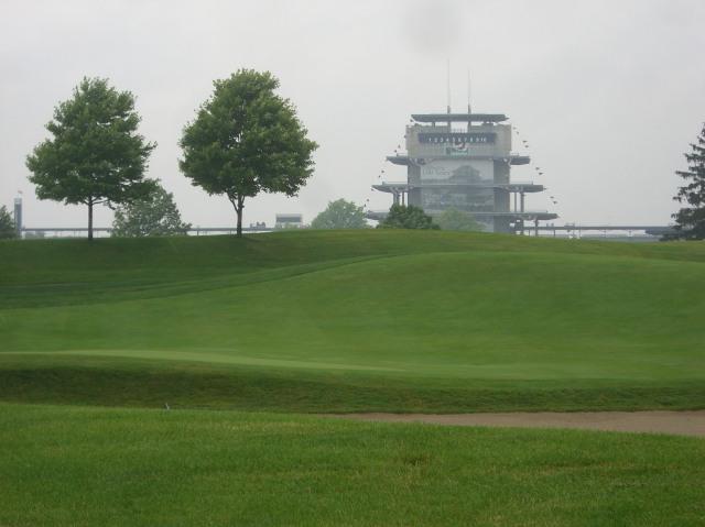 Pagoda, fog, golf course
