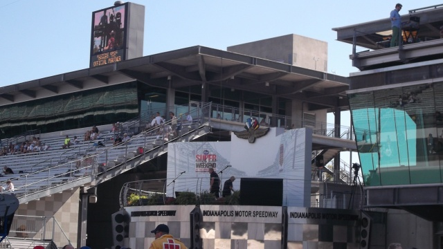 Victory lane and the Media Center in the background